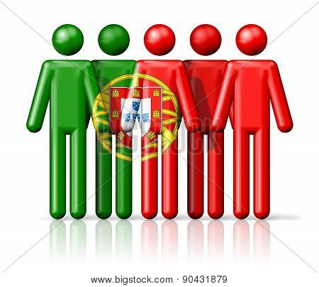 Flag Of Portugal On Stick Figure