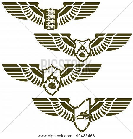 Abstract military badges
