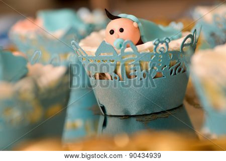 Christening Blue Decoration With Baby Boy