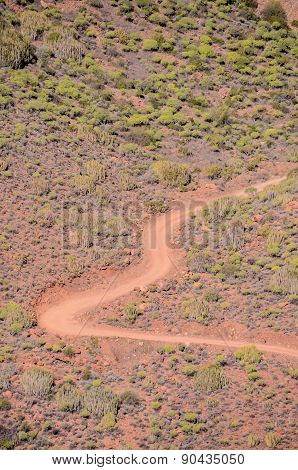 Aerial View of a Desert Road