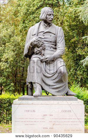 Bronze Statue Of Nikolai Vasilievich Gogol In Villa Borghese Park, Rome