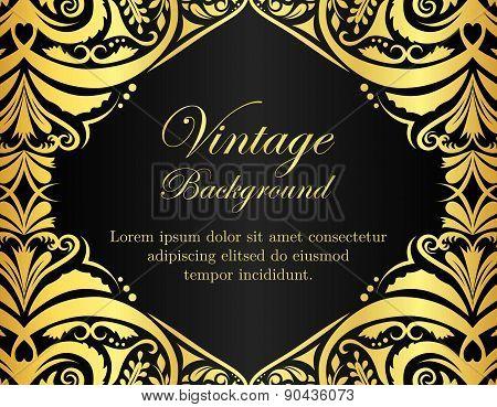 Black Vintage Background With Golden Floral Frame