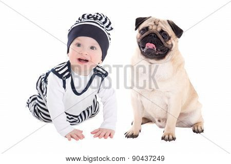Friendly Pug Dog With Little Baby Boy Sitting Isolated On White