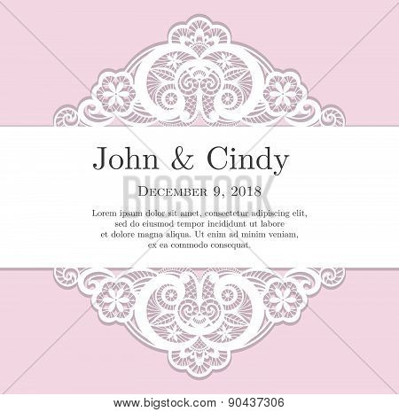 Vintage Pink Wedding Invitation With Lace Decoration