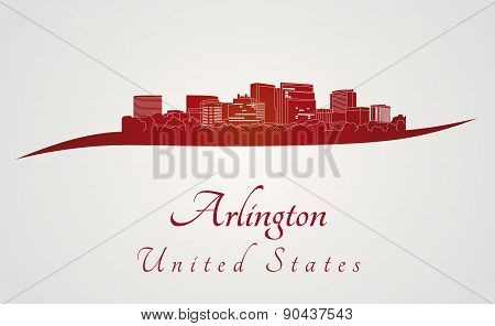 Arlington Skyline In Red