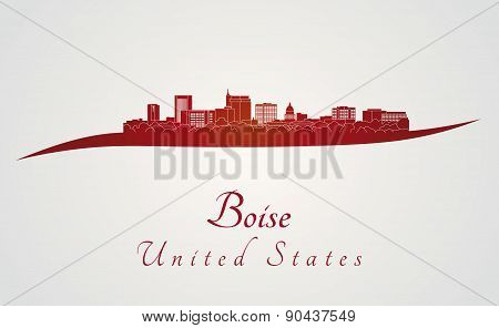 Boise Skyline In Red