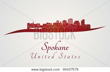 Spokane skyline in red
