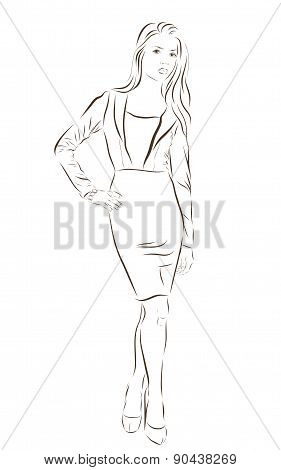 Beautiful woman face hand drawn vector illustration.