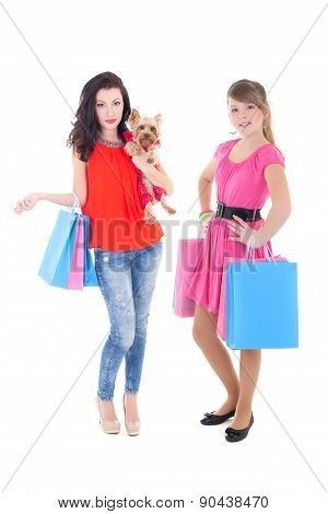Shopping Concept - Beautiful Women With Shopping Bags Isolated On White