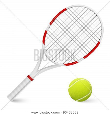 Tennis Racket And Ball. Isolated.