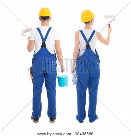 Team Work Concept - Man And Woman Painting Wall Isolated On White