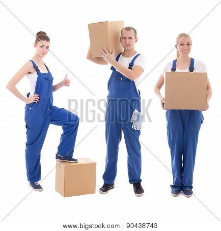 Delivery Concept - People In Workwear Holding Cardboard Boxes Isolated On White