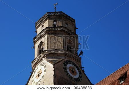 Industrial climbers on the south tower of the Collegiate Church - Stuttgart