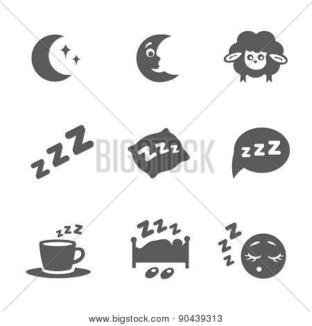 isolated sleep icons set