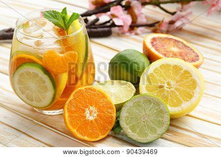 Summer citrus lemonade with orange, lime and lemon