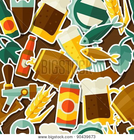 Seamless pattern with beer sticker icons and objects