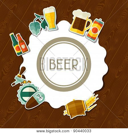 Background design with beer sticker icons and objects