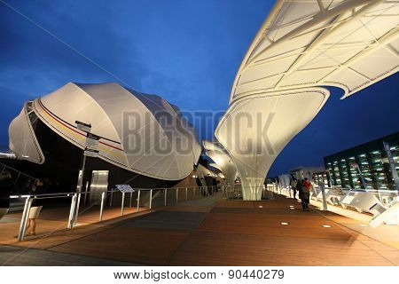 modern architecture of German exhibition hall at Milan Expo