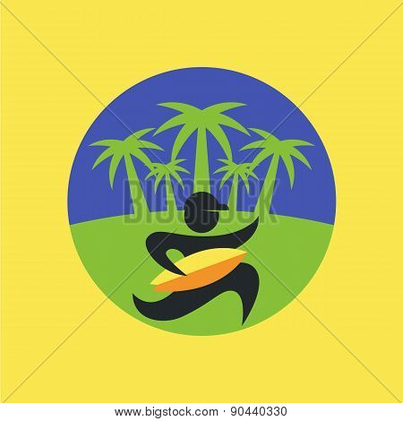 Vector Flat Illustration Of Running Man Black Silhouette With Yellow Surf Board On Green Palm Tree B