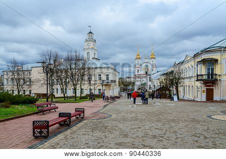 Suvorova Street And View Of Voskresenskaya (rynkovaya) Church And Town Hall, Vitebsk