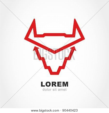 Abstract Bull Head, Stylized Growing Graph Isolated On A White Background. Vector Logo Design Templa