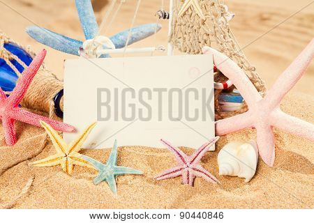 empty postcard with starfish