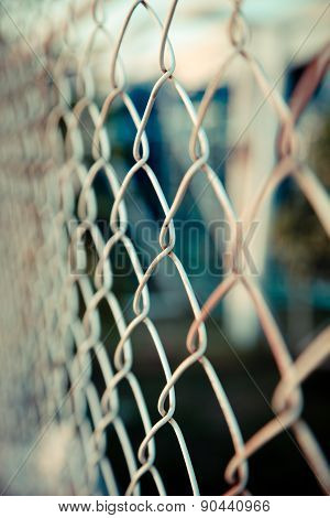 Steel Net Fence With Blur Background