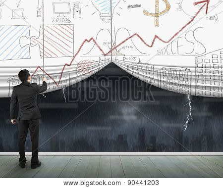Man Pulling Open Business Doodles Curtain Heavy Rain Dark Cityscape