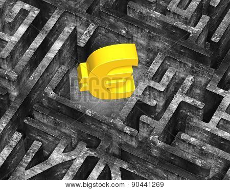 3D Gold Euro Symbol In Maze Old Mottled Concrete Texture