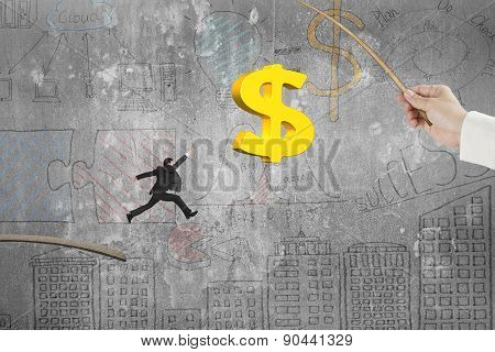 Man Jumping Golden Dollar Sign Fishing Lure Business Doodles Wall