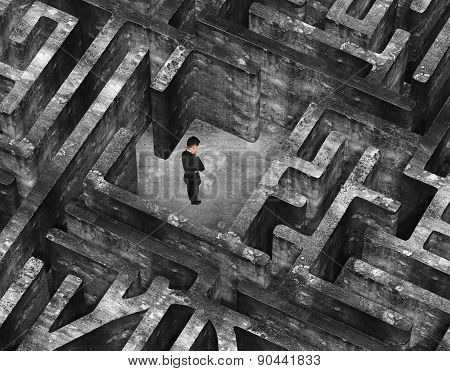Businessman Standing In Center Of 3D Old Mottled Concrete Maze
