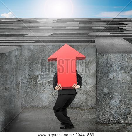 Man Carrying Red Arrow Up Sign Entering Maze With Sky