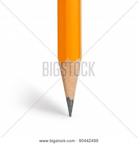 Orange Pencil On An Isolated White Background