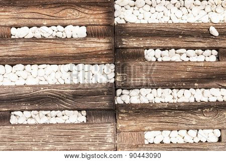 White stone old wood ground and texture pattern