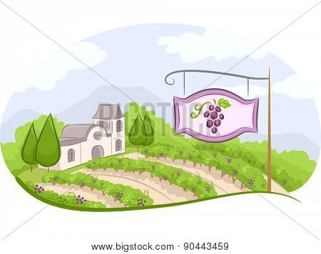 Illustration of a Vineyard Sign with a Wine Estate in the Background