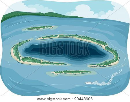 Illustration of a Small Atoll in the Middle of the Ocean