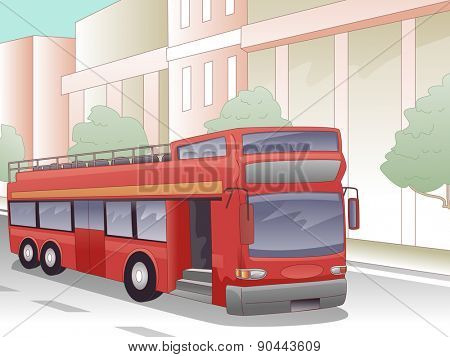 Illustration of a Double Decker Bus Parked in Front of a Building