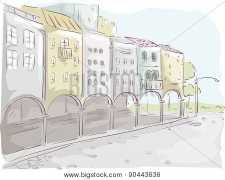 Illustration of a Row of Buildings with an Arcade Design