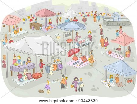 Illustration of a Flea Market Filled with People Out Shopping