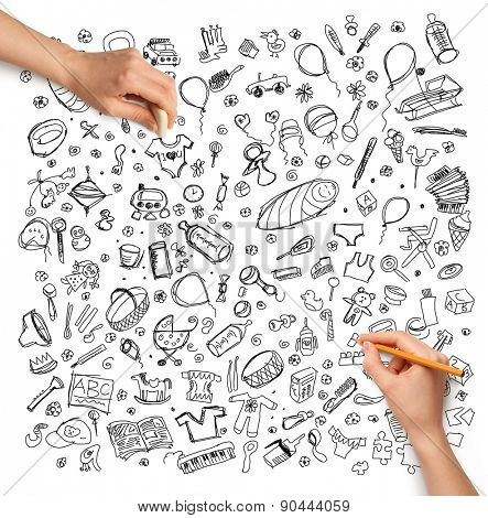 Idea family background sketch and human hand with pencil