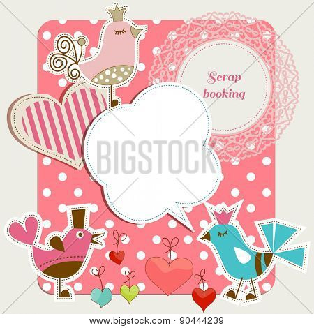 Scrap booking set, funny birds, frames hearts, speech bubbles