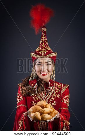 Kazakh Women With National Food