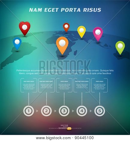 Vector background for business with pointers on the world map with elements Infographics