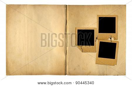 Open Vintage Photoalbum For Photos On White Isolated Background