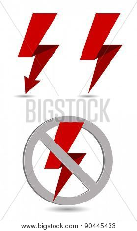 lightning banner icon with forbidden sign concept