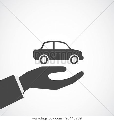 hand with car, insurance concept design