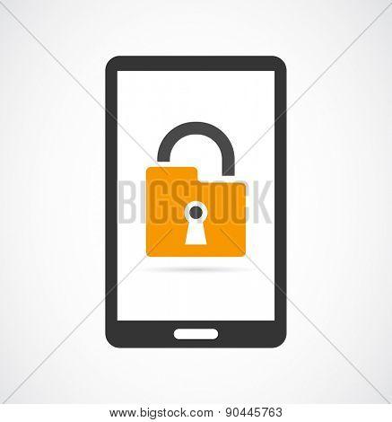 locked smartphone padlock icon design