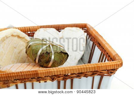 cheese in basket close up