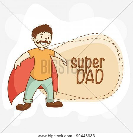 Super Day, Cartoon design of a Father with wings. Happy Father's Day celebrations concept.