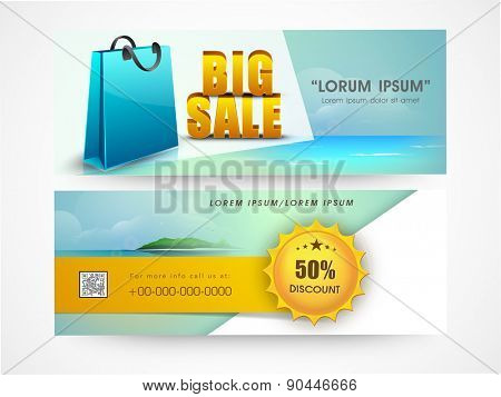 Big sale website header or banner set with discount offer and shopping bag.